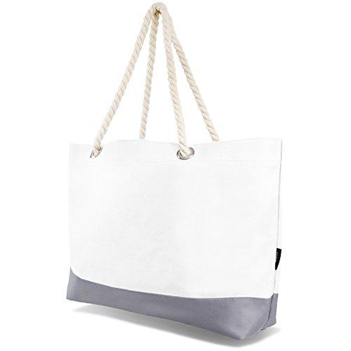 XL Strandtasche Beachtasche, verschiedene Farben verfügbar weiß OneSize