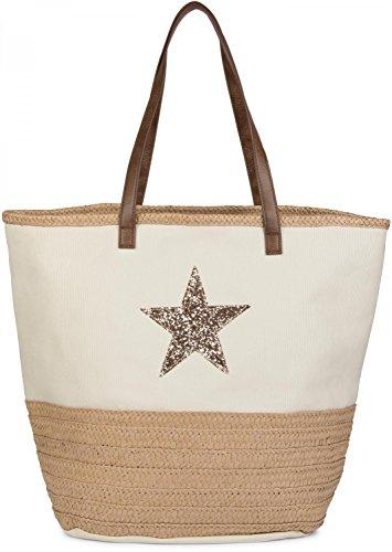 styleBREAKER Strandtasche mit Pailetten Stern und Bast, Schultertasche, Shopper, Badetasche, Damen 02012058, Farbe:Beige