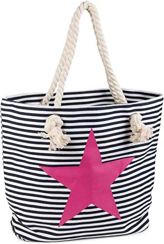 styleBREAKER Strandtasche in Streifen Optik mit Stern, Schultertasche, Shopper, Damen 02012037, Farbe:Marine-Weiß / Pink