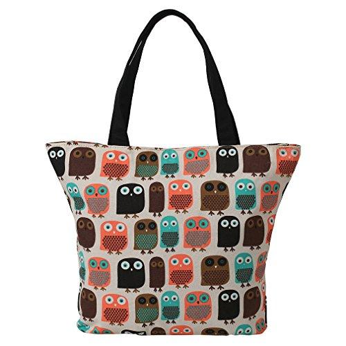 LATH.PIN Eule Shopper Beuteltasche Eule größe Umhängetasche Wasserfest Tasche Damen Schultertasche