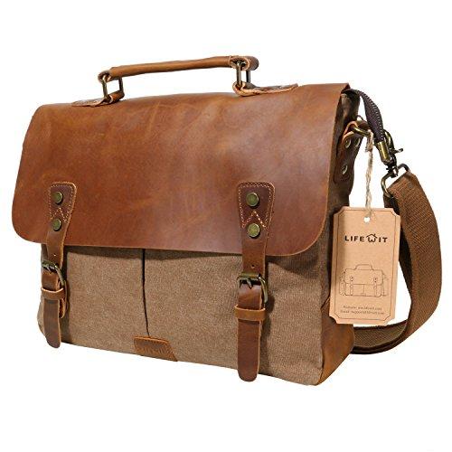 Langforth Vintage Messenger Bag Umhängetasche Aktentasche Schultertasche 14 Zoll Laptoptasche Notebooktasche aus Canvas und Leder Kaffee