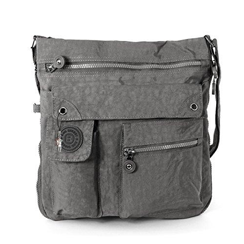 Bag Street Umhängetasche Bodybag grau + verchromter LECONI Schlüsselanhänger