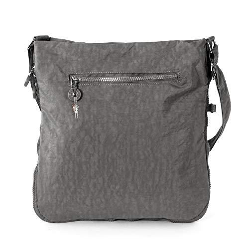 Bag Street Umhängetasche Bodybag grau + verchromter LECONI Schlüsselanhänger - 3