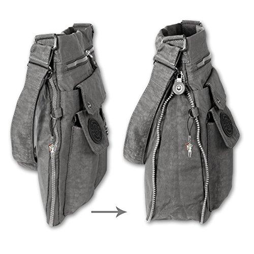Bag Street Umhängetasche Bodybag grau + verchromter LECONI Schlüsselanhänger - 2