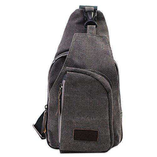 PsmGoods® Männer Umhängetasche Freizeit-Segeltuch-Taschen Reisen Wandern Tasche Rucksack Chest Pouch Sling Grau