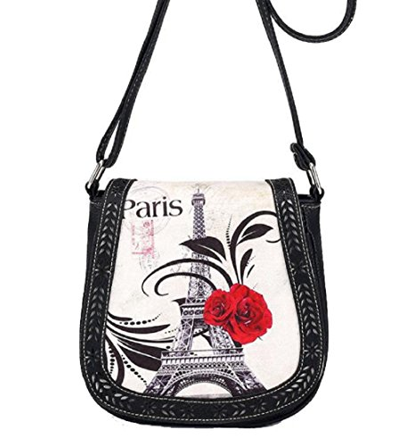 Tongshi Drucken Paris Eiffel Turm Umhängetasche Retro aushöhlen Umhängetaschen Messenger Taschen tonnenförmig Abdeckung (schwarz)
