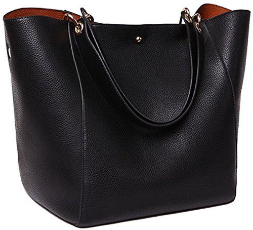 SQLP Taschen Handtaschen Damen Einfach Henkel Tasche Elegant wasserdichte Handtasche Kunstleder Schultertasche  (Schwarz)