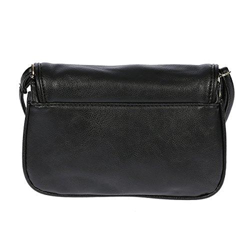 Kleine Umhängetasche Handtasche Abendtasche Kunstleder , Farbwahl (schwarz) - 3