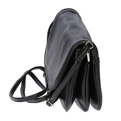 Kleine Umhängetasche Handtasche Abendtasche Kunstleder , Farbwahl (schwarz) - 2