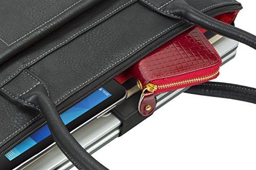 """RIVACASE """"8991 Black"""" Kunstleder Damen Business Notebook Schultertasche mit Anti-Shock Polsterung für Laptops bis 15.6″ & Tablets bis 10.1″, Schwarz - 10"""