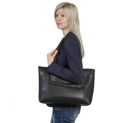 """RIVACASE """"8991 Black"""" Kunstleder Damen Business Notebook Schultertasche mit Anti-Shock Polsterung für Laptops bis 15.6″ & Tablets bis 10.1″, Schwarz - 9"""