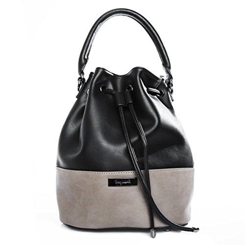tragwert. Damen Handtasche Bucket Bag MIA Damenhandtasche als trendige Schultertasche und Umhängetasche aus veganem Leder in schwarz-taupe