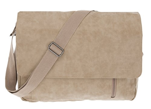 Bestway Umhängetasche Messenger Bag Laptoptasche Kunstleder Unitasche Schultasche (beige)