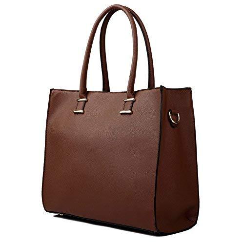 Damen Handtasche Damentasche Tragetasche Schultertasche aus K. Leder Groß (Braun)