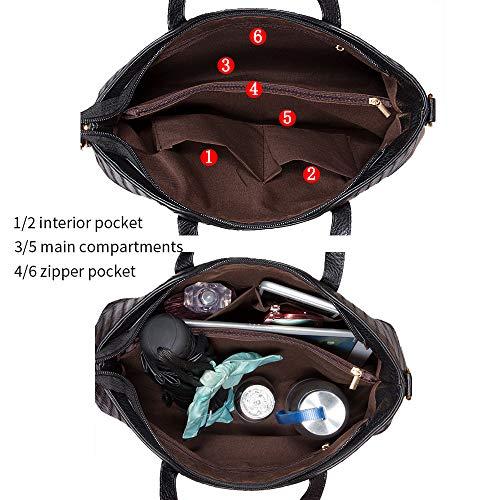 Tibes Art und Weise PU Leder Handtasche + Schultertasche + Geldbeutel 3pcs Beutel Schwarz - 4