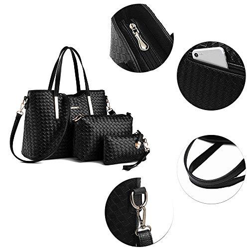 Tibes Art und Weise PU Leder Handtasche + Schultertasche + Geldbeutel 3pcs Beutel Schwarz - 5