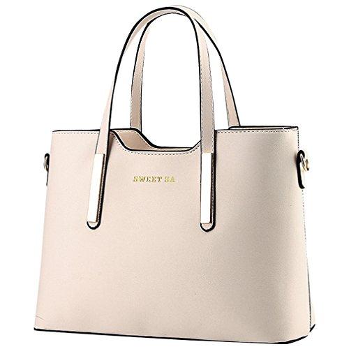 MissFox Frauen Handtaschen Schulter Beutel Reißverschluss Messenger Hobo Bag Beige