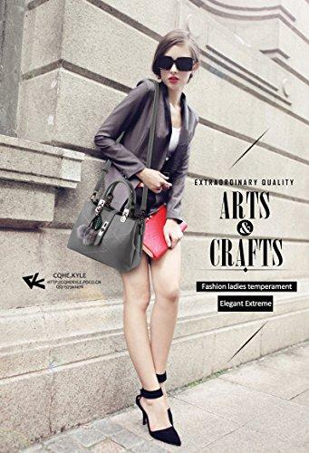 Nicole&Doris 2016 neue Welle Paket Kuriertasche Damen weiblichen Beutel Handtaschen für Frauen Handtasche(Gray) - 2
