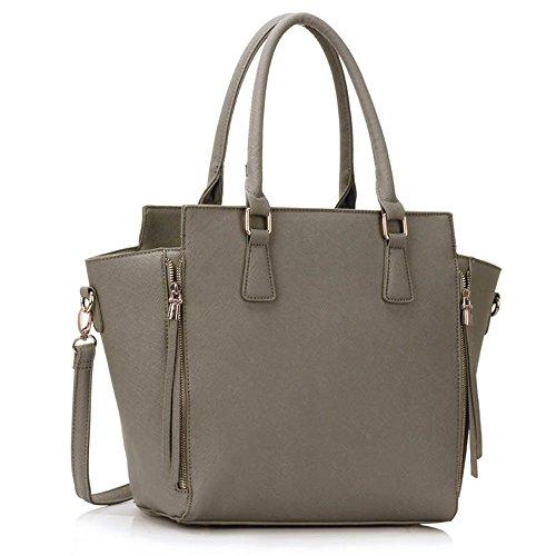 LeahWard® Damen ModeDesigner Stunning Zipper Tragetaschen Damen Qualität Schnell verkaufend Handtasche CWS00314 (Grey)