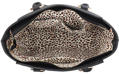 LeahWard Damenmode Designer Berühmtheit Tote Taschen Damen Qualität Kunstleder Schultertasche Handtasche Mit Strap CWS00414 (Schwarz) - 3