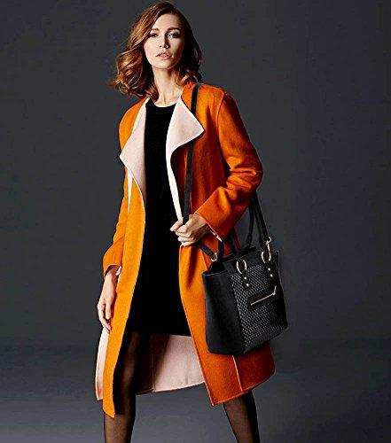 LeahWard Damenmode Designer Berühmtheit Tote Taschen Damen Qualität Kunstleder Schultertasche Handtasche Mit Strap CWS00414 (Schwarz) - 5