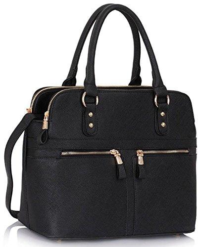 LeahWard® Damen Tragetaschen Celeb Style nett Handtaschen 3 Compartments GroßTaschen 250 (LW Schwarz)