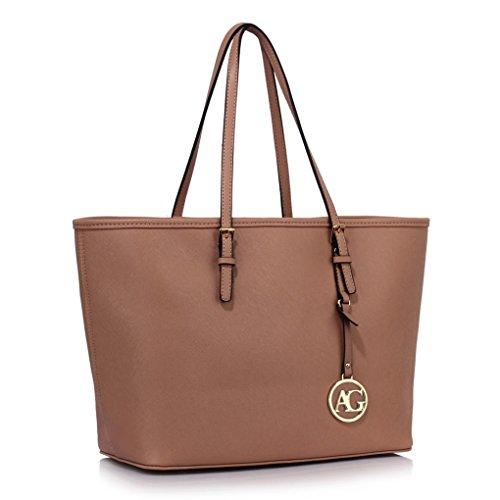 LeahWard® Damen Mode Desinger Große Größe Qualität Einkaufstaschen Damen Modisch Handtasche CWS00297 (Nude)