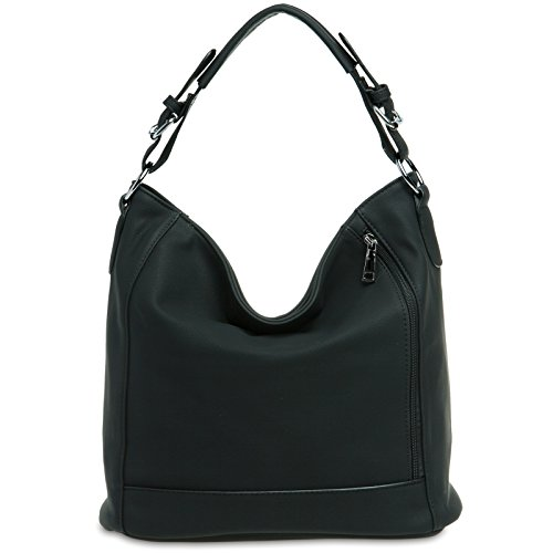 CASPAR Damen Tasche / Handtasche / Umhänge Tasche / Schultertasche / Messenger Bag - in vielen Farben - TS917, Farbe:schwarz