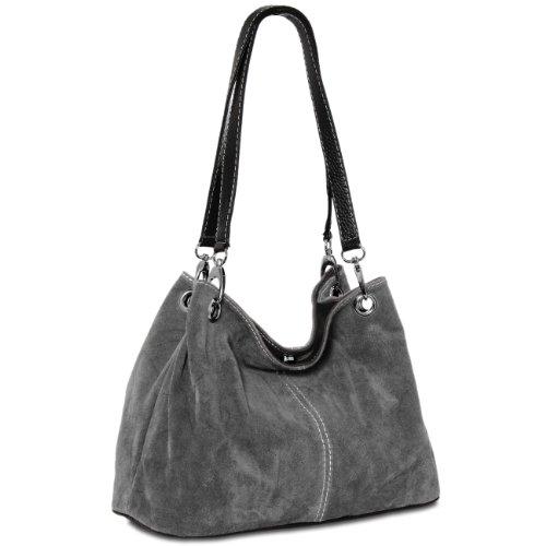 CASPAR klassische Damen Ledertasche / Handtasche / Schultertasche aus Wildleder - viele Farben - TL621, Farbe:dunkelgrau