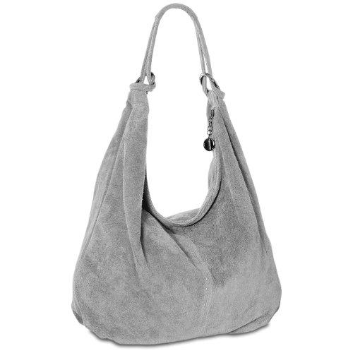 CASPAR TL617 Damen Ledertasche Handtasche , Farbe:hell grau