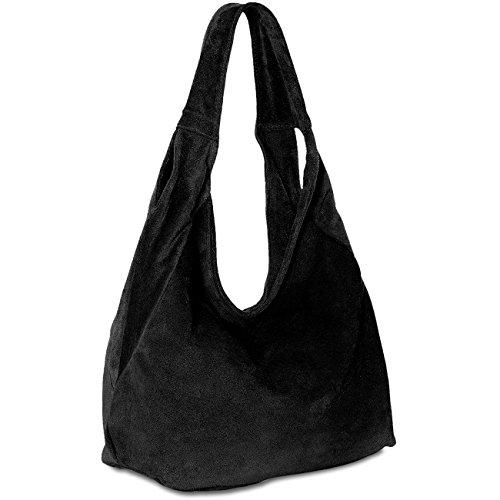 CASPAR Damen Ledertasche / Schultertasche / Shopper aus Wildleder MADE IN ITALY - viele Farben - TL618, Farbe:schwarz