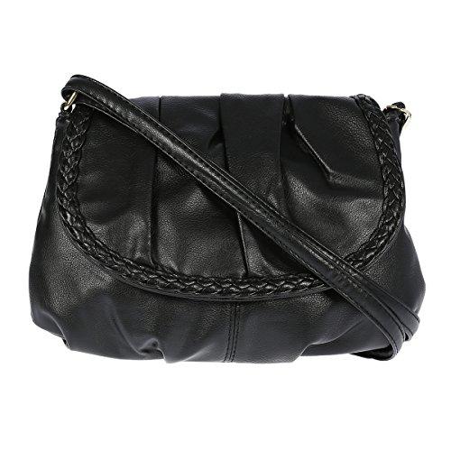 Kleine Umhängetasche Schultertasche Handtasche Kunstleder (schwarz)