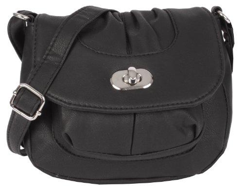 NEW BAGS Schultertasche Abendtasche Umhängetasche Überschlagtasche S mit Drehverschluss NB3039 Kunstleder 18cmx16cmx5cm (BxHxT) (Schwarz)