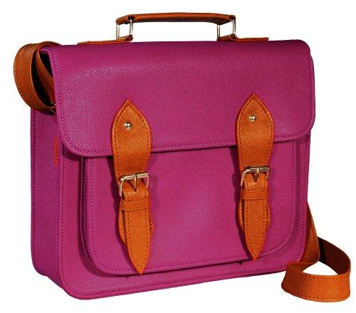 #GB0001L# Tasche Handtasche Vintage Satchel Bag Kunstleder Schultertasche Umhängetasche in purple/plum