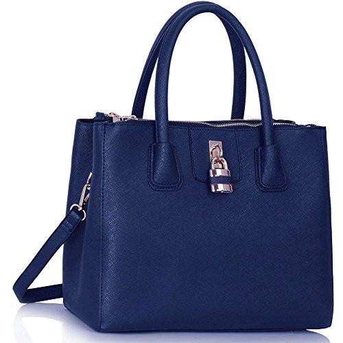 LeahWard® Damen Mode Desinger Qualität Tragetaschen Damen Modisch Hotselling Handtaschen Große Größe Einkaufstaschen CWS00195A (Marine)