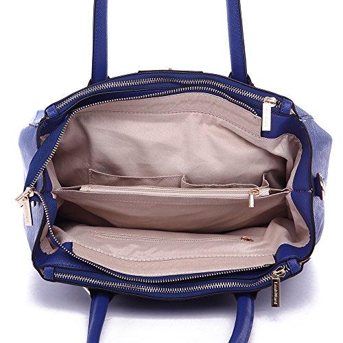 LeahWard® Damen Mode Desinger Qualität Tragetaschen Damen Modisch Hotselling Handtaschen Große Größe Einkaufstaschen CWS00195A (Marine) - 4
