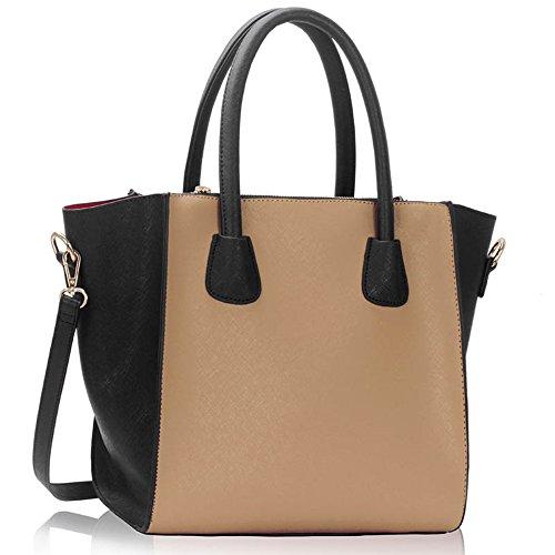 LeahWard groß Damen Tragetaschen Elegante Brand Handtaschen 61 (Schwarz/NUDE A)