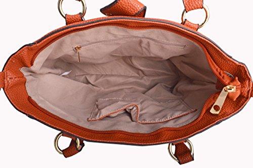LeahWard Damen mode Tote Taschen Elegante Berühmtheits-Art Schultertasche Tasche Handtasche 14004 (Schwarz) - 4