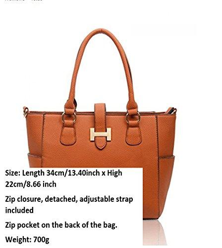 LeahWard Damen mode Tote Taschen Elegante Berühmtheits-Art Schultertasche Tasche Handtasche 14004 (Schwarz) - 7