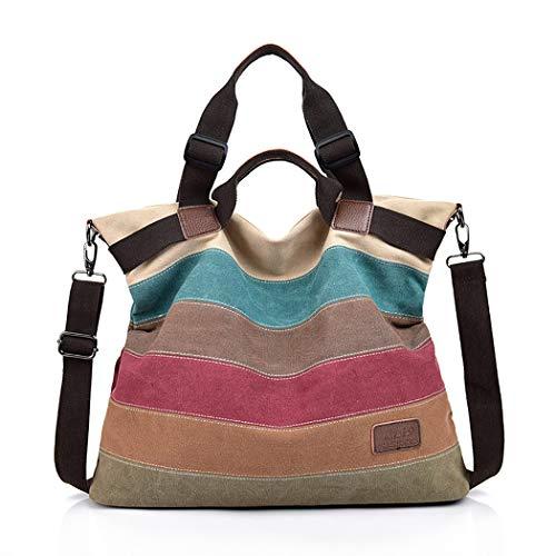 Coofit Mädchen Leinwand Shopper Schultertasche Handtasche Damenhandtaschen