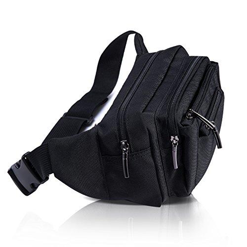 [Gürteltasche] Freetoo Bauchtasche Multifunktionale Hüfttasche 5 Fächer mit Reißverschluss geeignet für Reise Wanderung und alle Outdoor-aktivitäten Schwarz für Damen und Herren - 4
