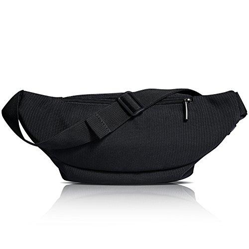 [Gürteltasche] Freetoo Bauchtasche Multifunktionale Hüfttasche 5 Fächer mit Reißverschluss geeignet für Reise Wanderung und alle Outdoor-aktivitäten Schwarz für Damen und Herren - 5