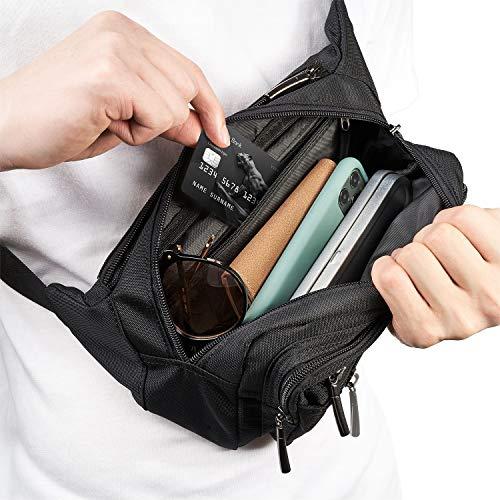 [Gürteltasche] Freetoo Bauchtasche Multifunktionale Hüfttasche 5 Fächer mit Reißverschluss geeignet für Reise Wanderung und alle Outdoor-aktivitäten Schwarz für Damen und Herren - 2