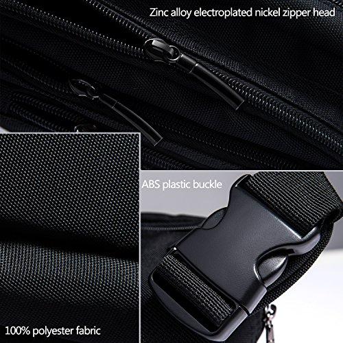 [Gürteltasche] Freetoo Bauchtasche Multifunktionale Hüfttasche 5 Fächer mit Reißverschluss geeignet für Reise Wanderung und alle Outdoor-aktivitäten Schwarz für Damen und Herren - 6