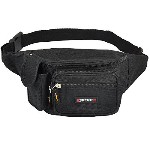 Yahee Geldtasche Gürtel Tasche Gürteltasche Sport Bauchtasche Hüfttasche mit 5 Fächer (schwarz) - 2