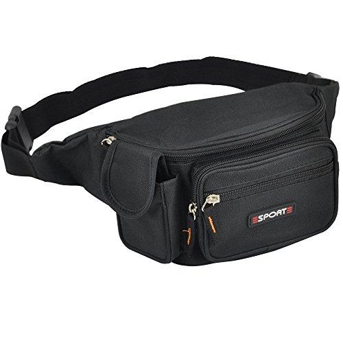 Yahee Geldtasche Gürtel Tasche Gürteltasche Sport Bauchtasche Hüfttasche mit 5 Fächer (schwarz) - 3