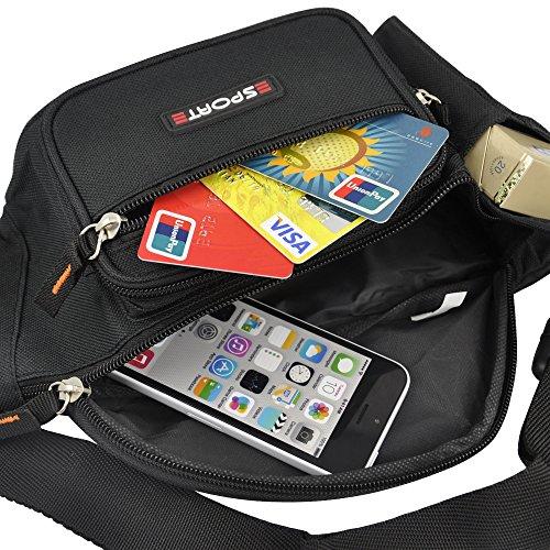 Yahee Geldtasche Gürtel Tasche Gürteltasche Sport Bauchtasche Hüfttasche mit 5 Fächer (schwarz) - 4