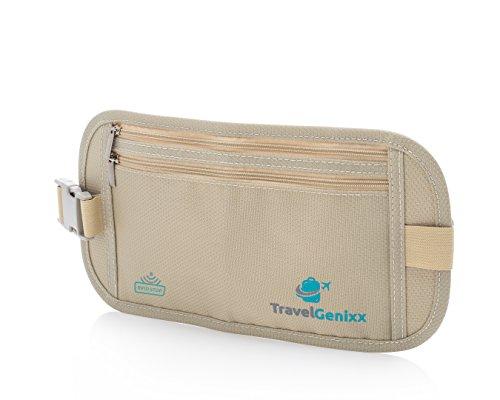 Deluxe Reise Bauchtasche mit RFID-Blockierung für reise (Beige geldgürtel)