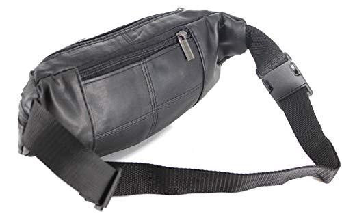 Gürteltasche Bauchtasche Umhängetasche Leder schwarz - 3