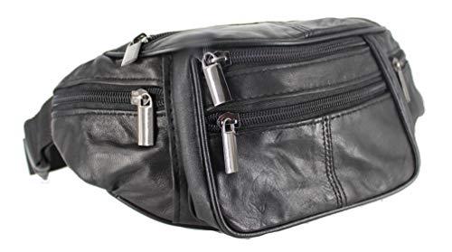 Gürteltasche Bauchtasche Umhängetasche Leder schwarz - 4